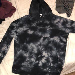 Black tie-dye hoodie